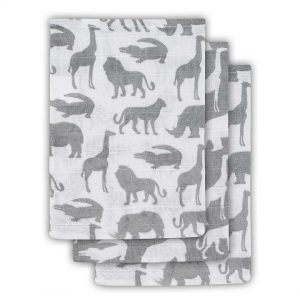 Jollein Hydrofiel washandje Safari stone grey (3pack)