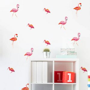 Muurstickers flamingo's