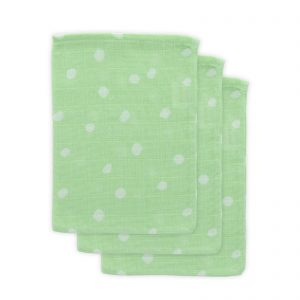 Little Lemonade washandje 3-pack stippen groen